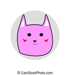 Pink cute cartoon style cat in shape of grey circle vector illustration