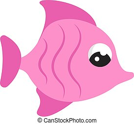 Pink cute fish, illustration, vector on white background.