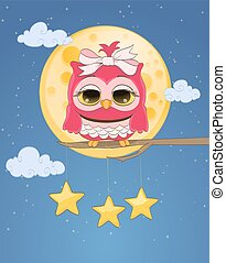 pink cute owl, moon, hanged stars, night sky with clouds. cartoon childish vector illustration