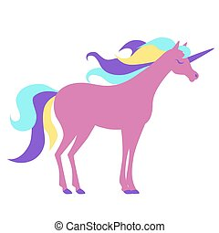 Pink cute unicorn for a card or t-shirt. Vector illustration