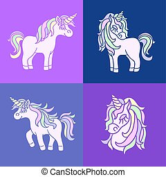 Pink cute unicorn sketch set on the purple background