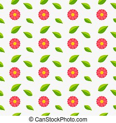 Pink daisy flowers and green leaves seamless pattern.