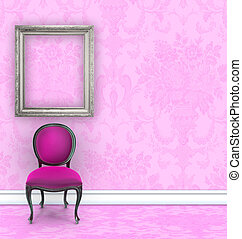 Pink Damask Room With Velvet Side Chair and Room for Text