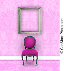 Pink Damask Room With Velvet Side Chair