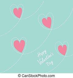 Pink dash line heart background. Flat design Happy Valentines day card