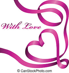 Pink decoration ribbon curled in heart shape isolated on ...