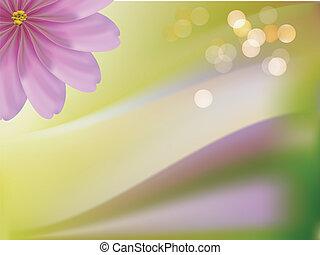 Pink decorative beautiful flowers green background
