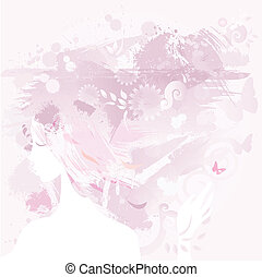 girl  - pink decorative composition with girl
