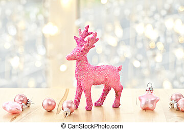 Pink deer and christmas decorations - Pink glittery deer ,...