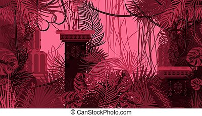 Pink dense foliage exotic nature background.