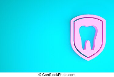 Pink Dental protection icon isolated on blue background. Tooth on shield logo icon. Minimalism concept. 3d illustration 3D render
