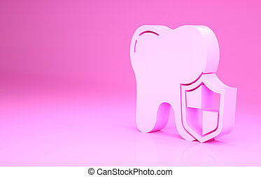 Pink Dental protection icon isolated on pink background. Tooth on shield logo. Minimalism concept. 3d illustration 3D render