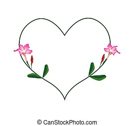 Pink Desert Rose Flowers in A Heart Shape - Love Concept,...