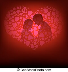 Pink design, the silhouette of lovers