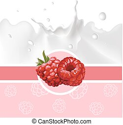 pink design with raspberry and milk