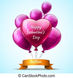 Pink detailed 3d balloons Valentine Day realistic Vector