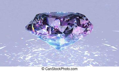 Pink diamond dispersion footage. Fancy color diamond...