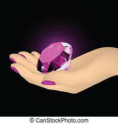 Pink diamond in the hands of women. Vector