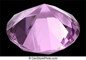 Pink diamond of glass - isolated on black background