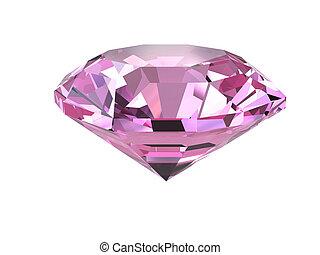 Pink diamond on white background - Pink diamond isolated on...