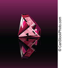 Pink diamond with reflection. Vector