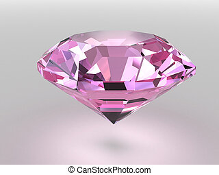 Pink diamond with soft shadows - Pink diamond rendered with...