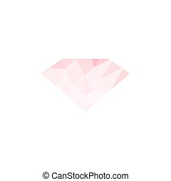 Pink dimond polygonal icon