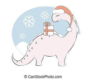 pink dinosaur Diplodocus in santa hat and gift