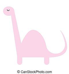 Pink dinosaur flat illustration on white