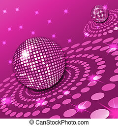 Illustration of two disco balls with a retro background