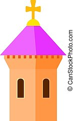 Pink dome of church icon, cartoon style