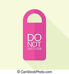 Pink dont disturb tag icon, flat style
