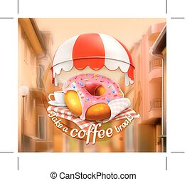 Pink donut and cup of coffee