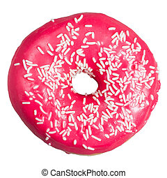 Pink donut. Isolated