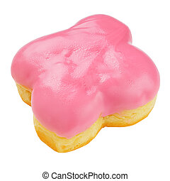 Pink donut isolated