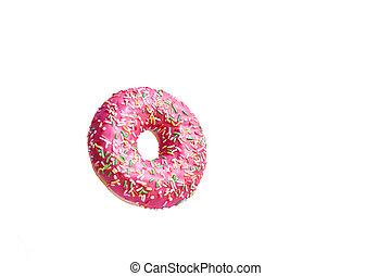Pink donut on a white background. Space for text
