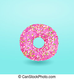 Pink donut with icing on blue background