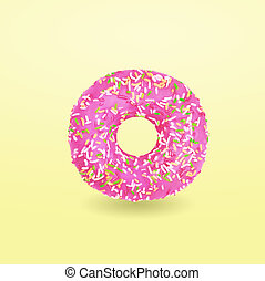Pink donut with icing on yellow background