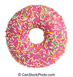 Pink donut with sprinkles isolated on white background