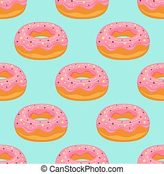 pink donuts pattern isolated on blue background