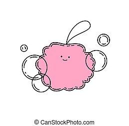 Pink doodle sponge with bubbles, vector