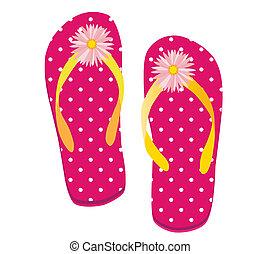Pink Dot Flip flop - Raster illustration of a pair of flip ...