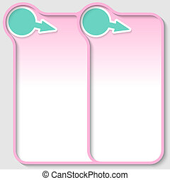 pink double text frame with green arrow