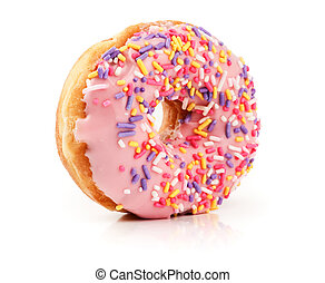 Pink Doughnut isolated on white - Pink Doughnut covered in ...