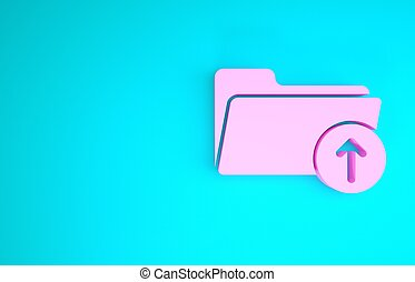 Pink Download arrow with folder icon isolated on blue background. Minimalism concept. 3d illustration 3D render