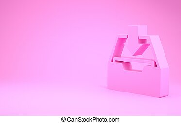 Pink Download inbox icon isolated on pink background. Add to archive. Minimalism concept. 3d illustration 3D render
