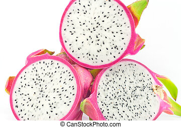Pink dragon fruit Isolated on white background