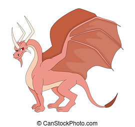 Pink dragon with horns cartoon