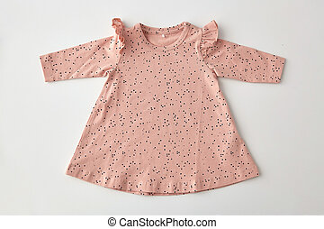 pink dress for baby girl on white background