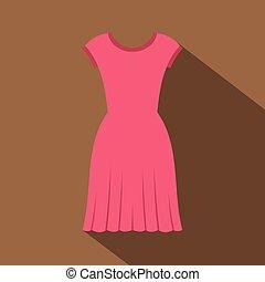 Pink dress icon, flat style